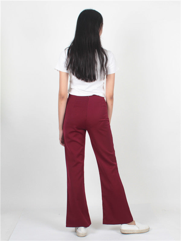 Wide Leg Pants Maroon AP05