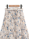 COLORFUL FLORAL BELT PLEATED SKIRT BS33