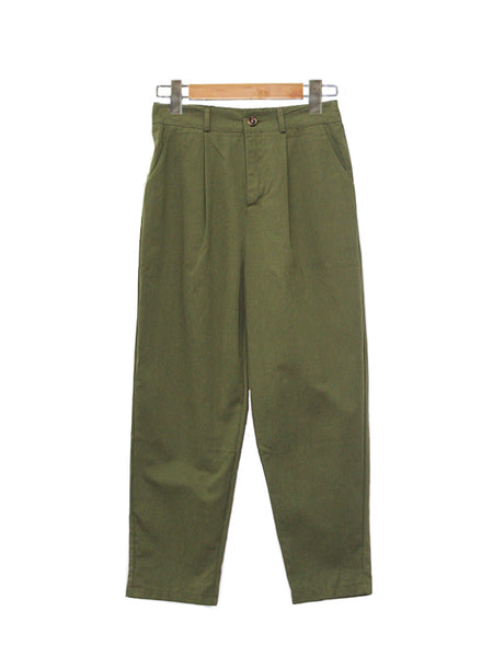 COTTON DENIM WIDE PANTS GREEN BP020
