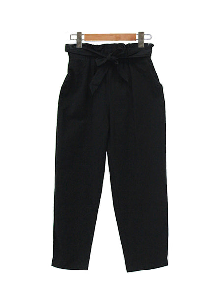 COTTON WIDE PANTS BLACK BP021