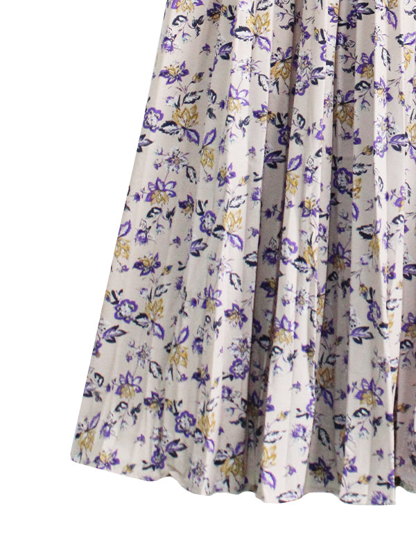 GERY FLORAL PLEATED SKIRT BS24