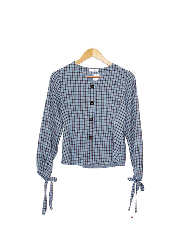 COTTON POLY CHECKERED BLOUSE BLUE BT153