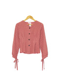 COTTON POLY CHECKERED BLOUSE PINK BT153