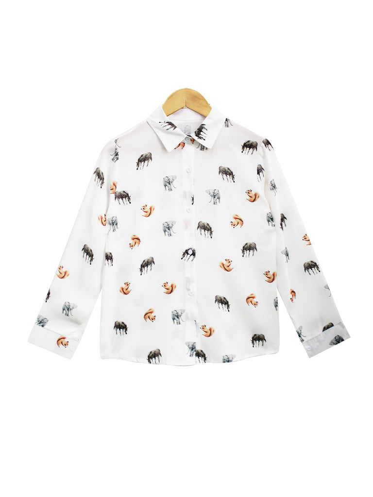 ANIMAL PATTERNED BLOUSE SHIRT BT749
