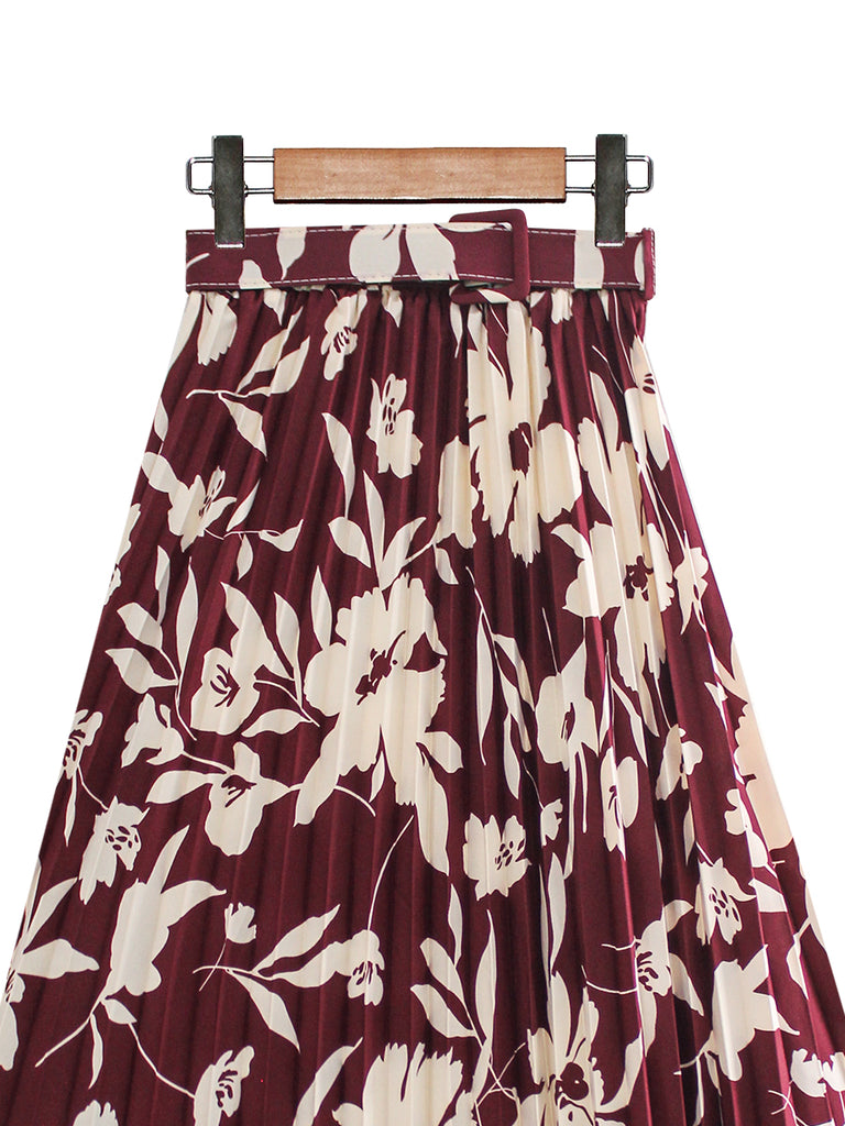 BOTANICAL BELT PLEATED SKIRT BS32