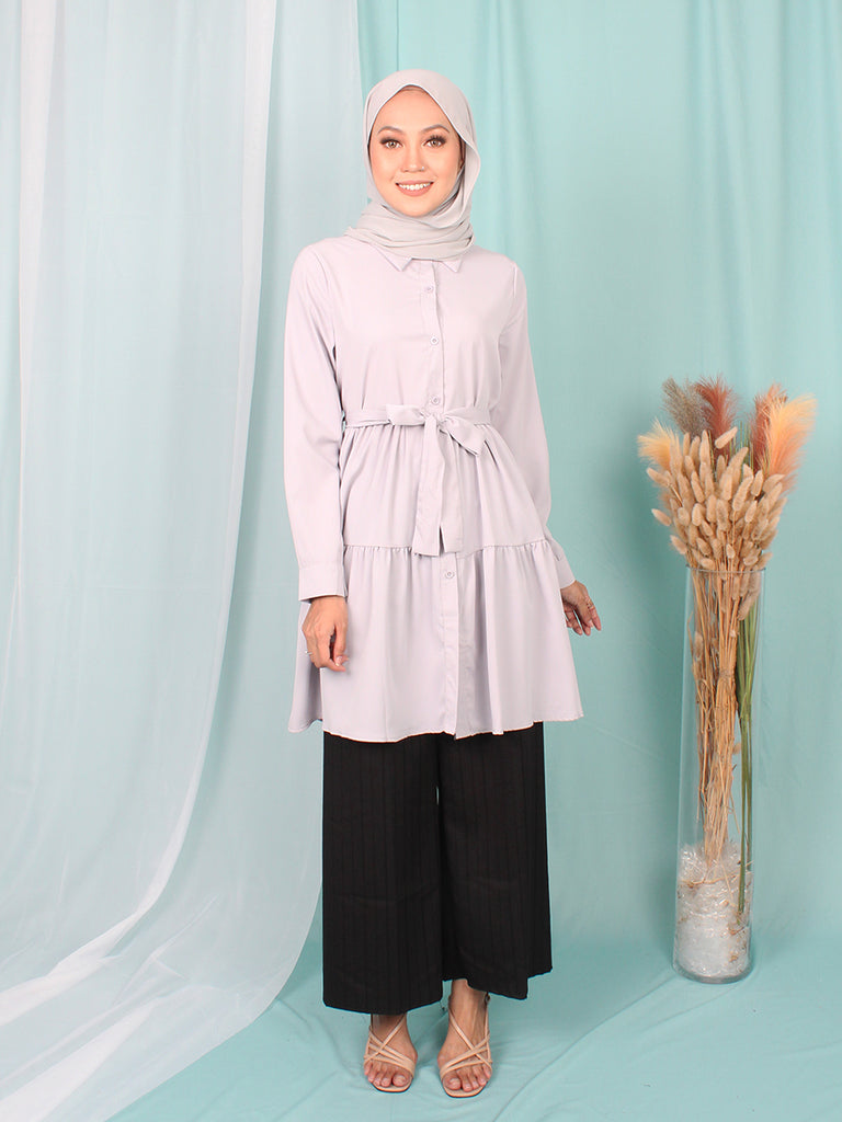LAYERED COLLAR PLAIN TUNIC BT948