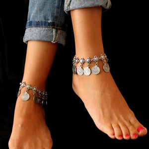 Tomtosh Free shipping Silver Color Bohemian Metal Tassel Anklet Luxury Charm Coin Ankle Bracelet For Women Jewelry Summer Style - My Beauty Line
