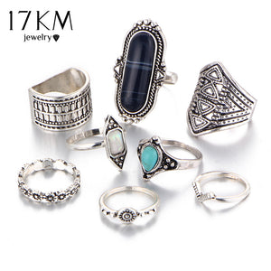 Stone Midi Ring Sets Tibetan Turkish Silver Color Knuckle Rings 8pcs/Set - My Beauty Line