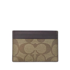 Coach Flat Card Case in Signature Khaki/Oxblood