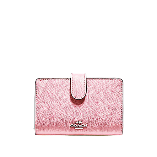 Coach Corner Zip Wallet In Crossgrain Blush