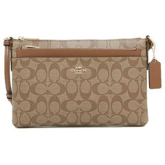 Coach East/West Crossbody With Pop Up Pouch In Signature Khaki/Saddle