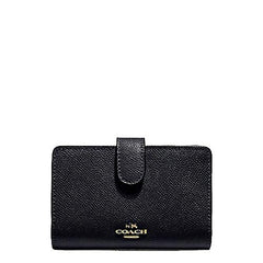 Coach Corner Zip Wallet In Crossgrain Black