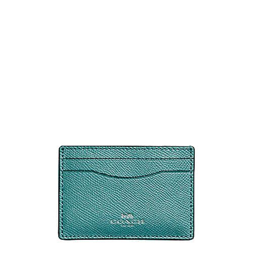 Coach Flat Card Case In Glitter Crossgrain Leather Dark Teal