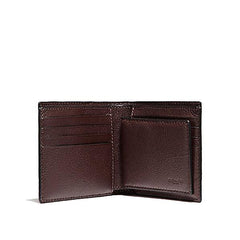 Coach Men's Compact ID Wallet In Baseball Stitch Leather Oxblood (F21371)