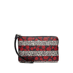 Coach Corner Zip Small Wristlet Rose Queen Stripe Pring