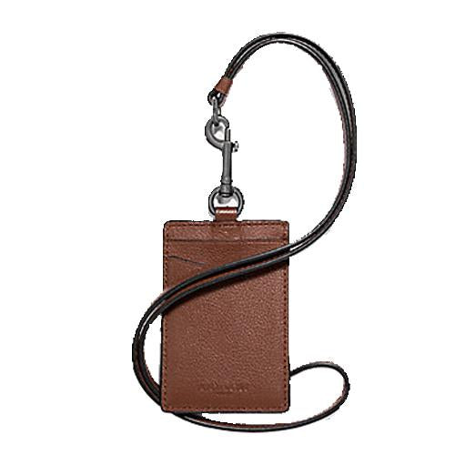 Coach ID Lanyard In Sport calf leather F31657 Antique Nickel/Saddle With Coach Gift Box