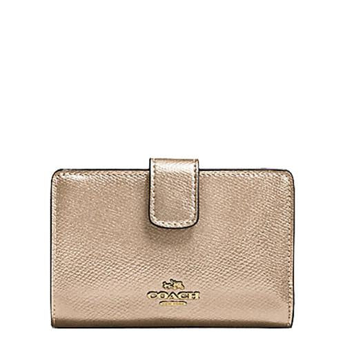 Coach Corner Zip Wallet In Metallic Crossgrain Platinum