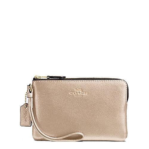 Coach Corner Zip Wristlet In Metallic Crossgrain Leather Platinum