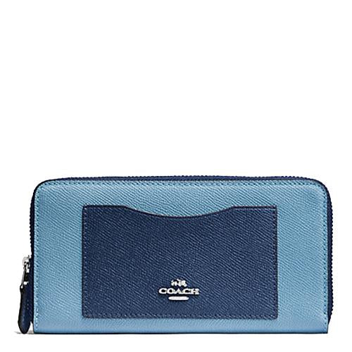 Coach Accordion Zip Wallet In Geometric Colorblock Crossgrain Leather Blue Multi