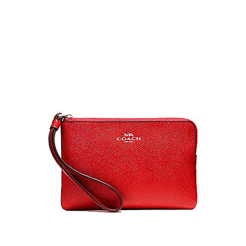Coach Corner Zip Wristlet In Crossgrain Leather Poppy