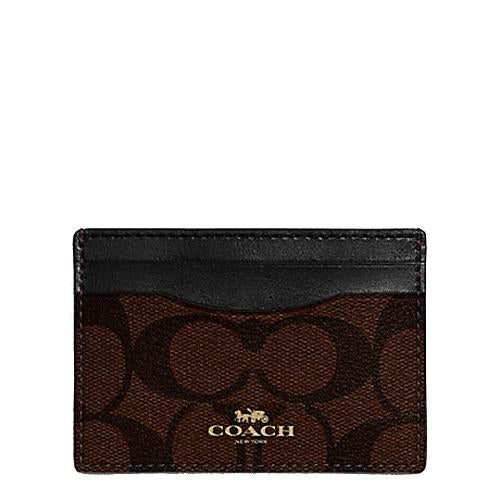 Coach Flat Card Case In Signature Coated Canvas Brown/Black