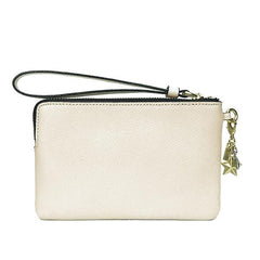 Coach Corner Zip Small Wristlet In Crossgrain Leather With Charm Chalk White