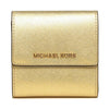 Michael Kors Jet Set Travel Small Carryall Wallet In Metallic Saffiano Leather Gold