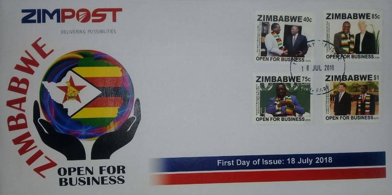 ZIMBABWE OPEN FOR BUSINESS FIRST DAY ISSUE COVER