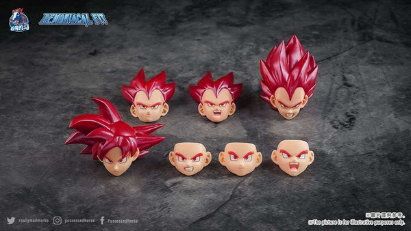 (USA stock) DF custom  Super Saiyan God Goku/ Vegeta Red hair face kits