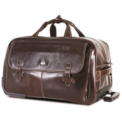 Brando Leather Travel Duffel on Wheels | Brown