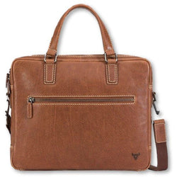 Brando Vintage Leather Slimline Briefcase Tan