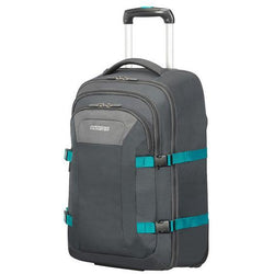 American Tourister Road Quest Laptop  Backpack w wheels | Grey/Turquoise