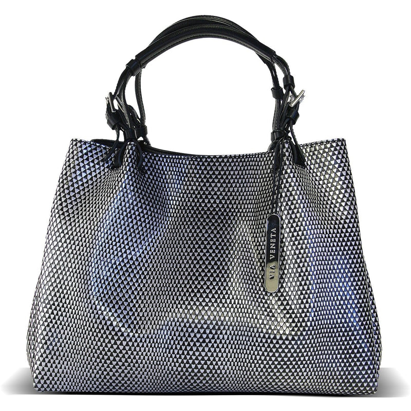 Via Veneta Wow Leather Large Handle Handbag | Diamond Print