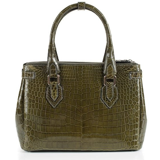 Zambezi Grace The Elizabeth Handbag | Olive Green (Genuine Crocodile Leather)