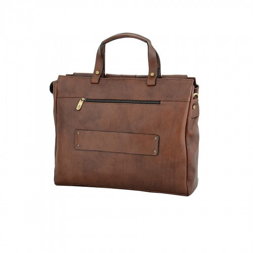 Marta Ponti Italian Leather Casual Laptop Bag Brown