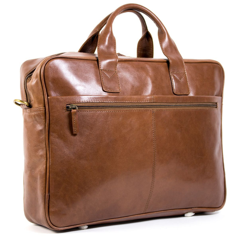 "Nuvo Ivan 17"" Leather Laptop Bag Burnish Brown"