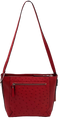 Via Veneta Julie Ostrich Quill Leather Small Elegant HandBag Red - iBags.co.za