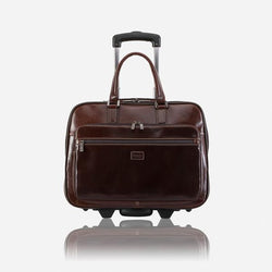 Brando Alphine 15-inch Leather Business Bag on Wheels | Brown