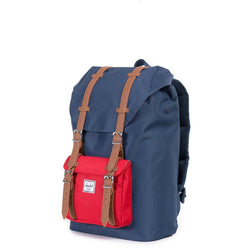 Herschel Supply Company Little America Mid-Volume Backpack | Navy/Red/Tan Synthetic Leather