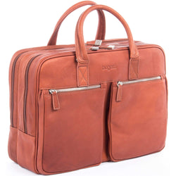 Bugatti Sartoria Double Handle Leather Laptop Bag, Cognac