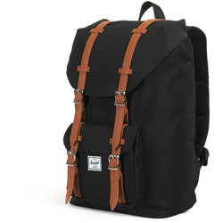 Herschel Supply Company Little America Mid-Volume Backpack | Black/Tan Synthetic Leather