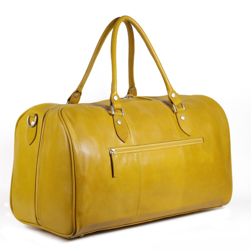Nuvo Bristol Leather Carry On Duffle Bag Vacheta Yellow