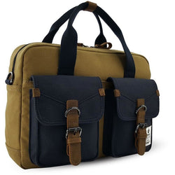 Troop London Double Handle Computer Bag | Navy/Mustard