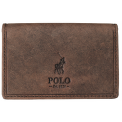 Polo Hamada Leather Business Card Holder Wallet with RFID