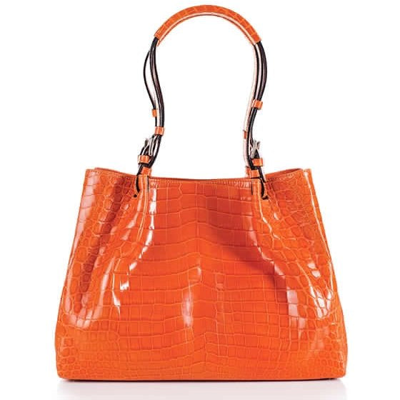 Zambezi Grace The Victoria Handbag | Tangerine (Genuine Crocodile Leather)