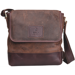Polo Raw Oil Skin Flapover Sling | Brown