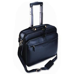 Smartline Leather Computer Bag on Wheels | Black
