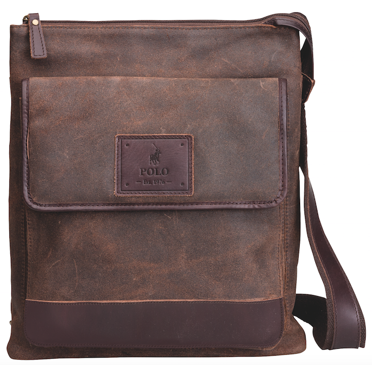 Polo Raw Oil Skin Sling Bag With Front Pocket | Brown