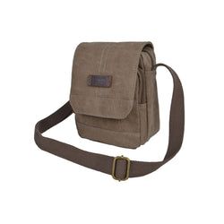 Troop London Heritage Canvas Across Body Bag | Khaki
