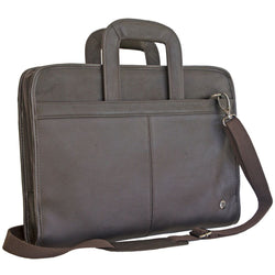 Gino De Vinci Colombia Leather Portfolio with Drop Handles | Brown